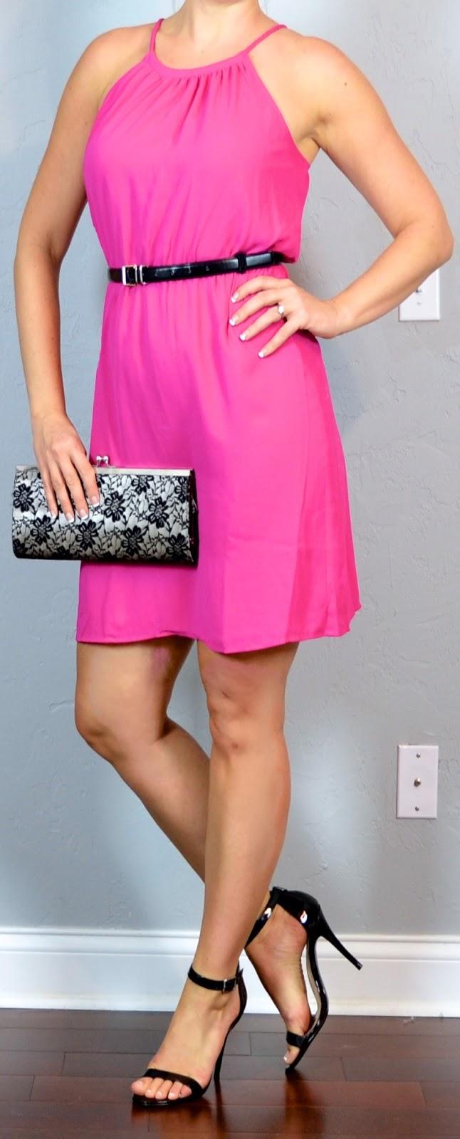 outfit post: hot pink dress black heels black belt