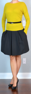 outfit post: mustard sweater, black a-line skirt