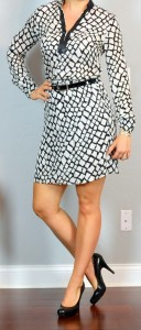 outfit post: leather trim silk print dress, black heels