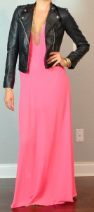guest post – sister week: neon maxi dress, leather moto jacket