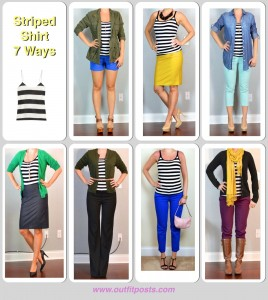 outfit posts: striped shirt 7 ways
