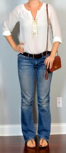 outfit post: white smocked crepe blouse, bootcut jeans