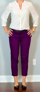 outfit post: purple cropped pants, white blouse, black flats