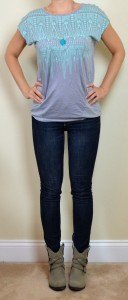 outfit post: mint santa fe tee, skinny jeans, ankle boots