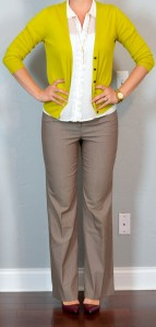outfit post: mustard cardigan, white ruffle blouse, tan 'editor' pants, burgundy heels