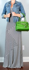 outfit post: striped maxi dress, jean jacket, kelly green bag