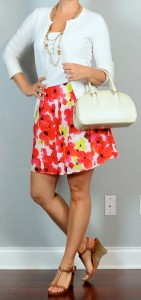 outfit post: pink, orange & yellow floral skirt, white cardigan, brown wedges