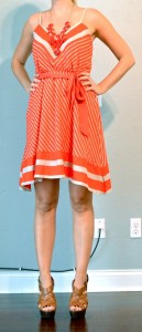 outfit posts: orange chevron dress, wedges