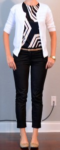 outfit post: graphic black and white top, white cardigan, black cropped pants, gold belt