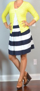 outfit post: navy striped skirt, yellow cardigan, brown wedges