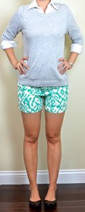 outfit post: grey sweater, white button down shirt, teal ikat shorts