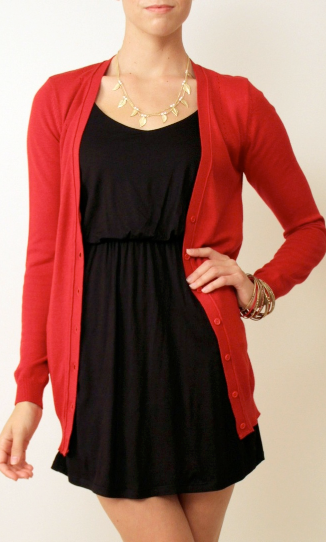 Outfit post red cardigan black dress red ballet flats