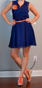 outfit post: blue dress, orange belt, orange flower pin