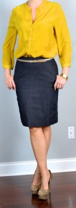 outfit post: mustard crepe blouse, denim pencil skirt, leopard heels