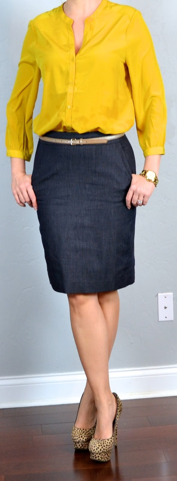 Outfit post mustard crepe blouse denim pencil skirt leopard heels