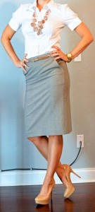 outfit post: white button down, grey pencil skirt, gold belt, pink chunky bead necklace