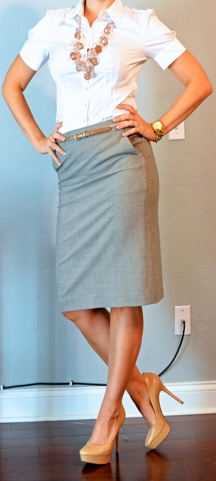 outfit post: white button down, grey pencil skirt, gold belt, pink ...