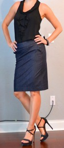 outfit posts: black ruffle tank, denim pencil skirt, black strappy heels