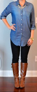outfit post: chambray shirt, black skinny jeans, brown boots