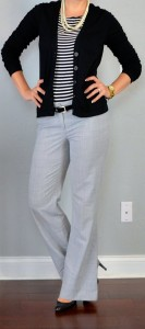 outfit posts: striped shirt, black cardigan, grey 'editor' pants