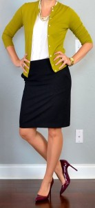 outfit post: green/mustard cardigan, black pencil skirt, burgundy pumps