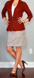 outfit posts: rust knit cardigan, white cami, printed pencil skirt