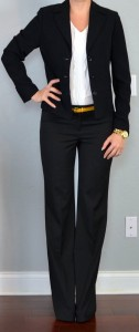outfit post: black suit jacket, black suit pants, white ruffle blouse, yellow belt
