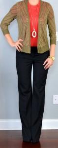 outfit post: orange shirt, olive green striped cardigan, black 'editor' pants