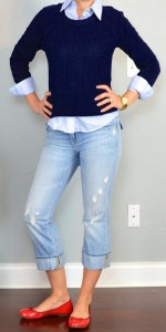 outfit post: navy knit sweater, blue button down oxford shirt, cropped light denim pants, red flats
