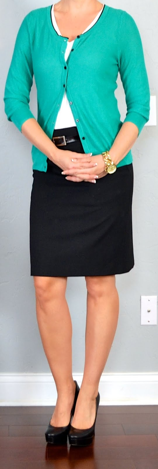Outfit Posts Green Cardigan Black Pencil Skirt