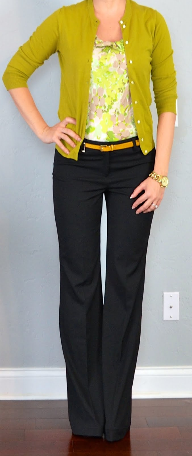 Outfit Post Green Floral Blouse Green/mustard Cardigan Black Pants Yellow Belt
