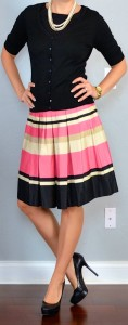outfit post: black cardigan, peach striped pleated skirt