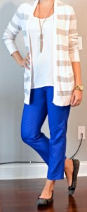 outfit post: grey and white striped cardigan, white tank, blue cropped pants