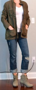 outfit post: green army jacket, white t, boyfriend jeans, ankle booties
