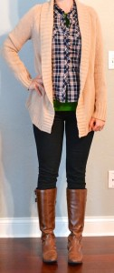 outfit post: blue plaid shirt, oatmeal knit cardigan, skinny jeans, riding boots