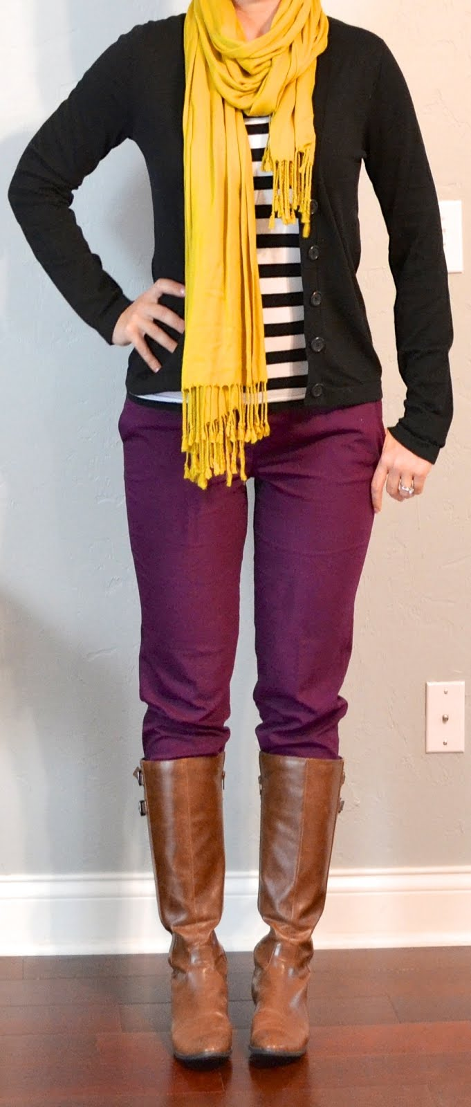 Outfit post striped top burgundy/purple cropped pants boots black cardigan
