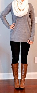 outfit post: grey tunic sweater, black skinny jeans, cream infinity scarf