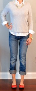 outfit post: white button down shirt, grey sweater, boyfriend jeans, red ballet flats