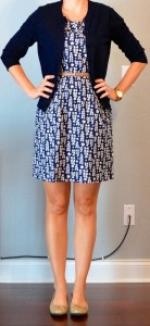 outfit post: blue floral dress, navy cardigan, gold belt