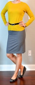outfit post: mustard shirt, grey pencil skirt, plaid flats