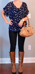 outfit post: navy sheer patterned blouse, black skinny jeans, brown boots