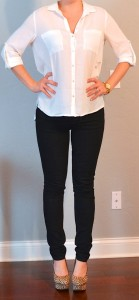 outfit post: white crepe button down blouse, black skinny jeans, leopard heels