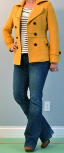 outfit post: striped shirt, yellow pea coat, bootcut jeans