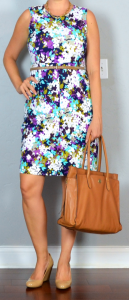 outfit post: purple floral sleeveless ponte dress, nude wedges, brown laptop tote