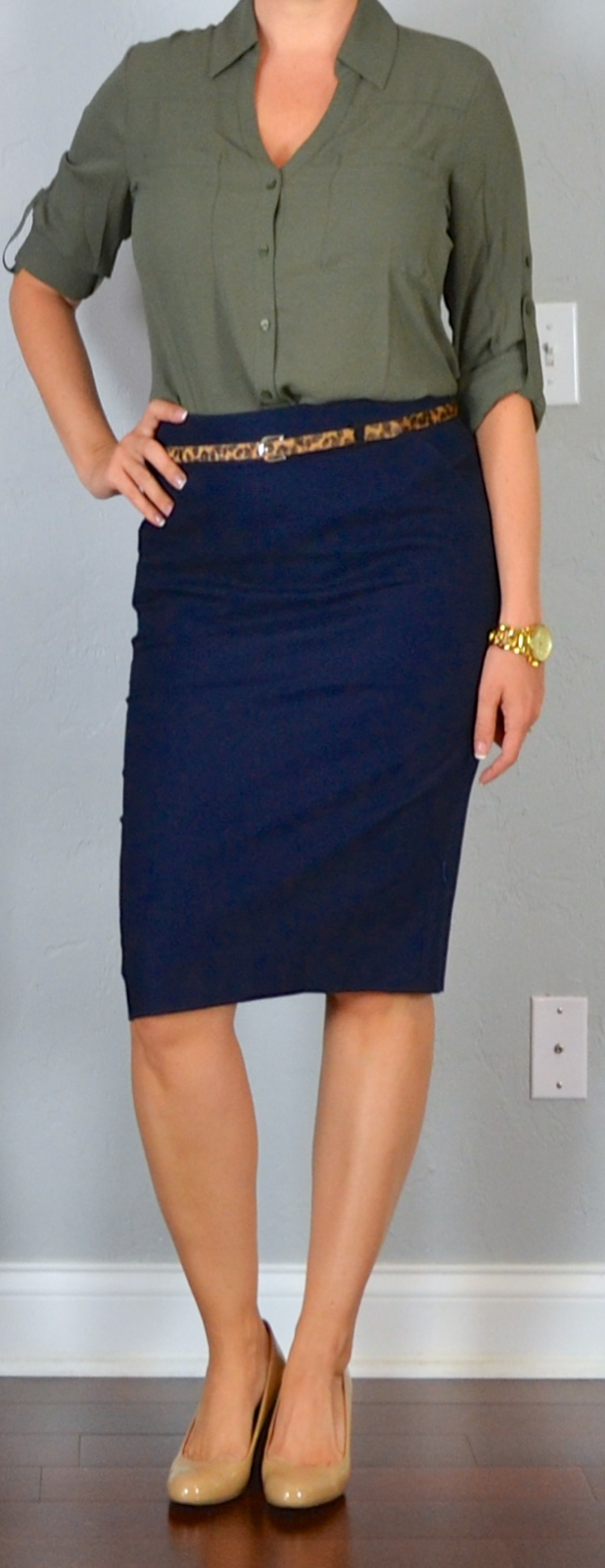 Outfit post navy pencil skirt olive green portofino shirt leopard belt nude wedges