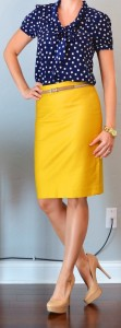 outfit post: navy polka-dot tie-neck blouse, mustard pencil skirt, nude pumps