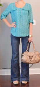 outfit post: teal blouse, wide leg jeans