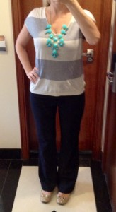 outfit post: grey stripe, black pant, teal bubble necklace