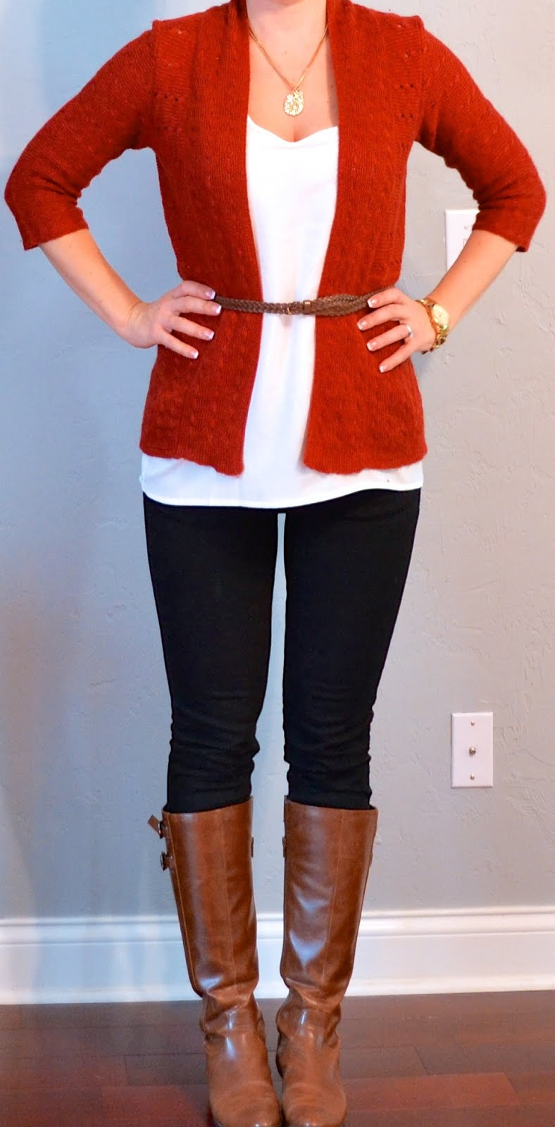 Outfit post rust cardigan white tank black jeans brown riding boots
