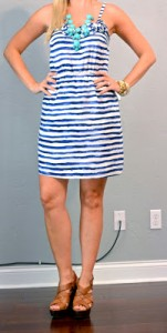 outfit post: blue and white striped dress